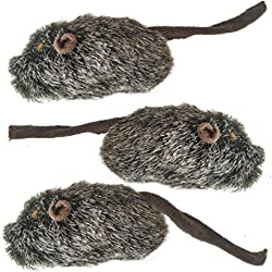 3 Pcs. Cat Squeaker Mouse Toy - Creates Realistic Sound - Lifelike Plush Material - Dark Brown Hunting Prey - Training Tool for Physical and Mental Exercise (Squeak with Catnip)