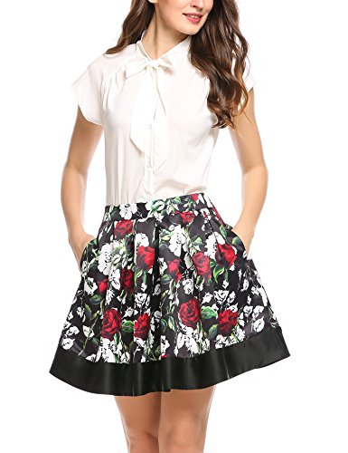 Zeagoo Women High Waisted Pleated Mini Floral Print Flared Pocket (Welt Pocket Skirt)