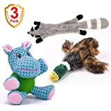 Favou 3 Pack Durable Plush Dog Toys with Chew Guard Rubber Ball for Small Dogs Interaction Training( Hippo)No Stuffing Squeaky Plush Dog Toy(Raccoon) Chew Toy with Cartoon Plush Squeaking Style(duck)