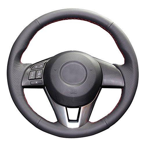 Eiseng DIY Black Genuine Leather Steering Wheel Cover Custom Fit for Mazda 6 M6 2014 2015 2016 / Mazda 3 2014-2016 / CX-3 2016 2017 / CX-5 2013-2016 Stitch on Wrap Interior Accessories (Red Thread) (Autumn Stitches)