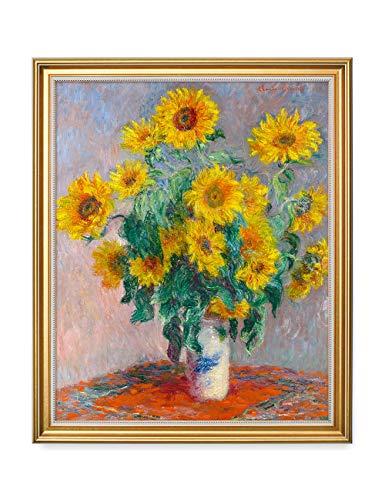 20 Framed Wall Art - DECORARTS - Monet Sunflowers, Claude Monet Art Reproduction. Giclee Print Framed Art for Wall Decor. 16x20, Total Size w/Frame: 18.5x22.5