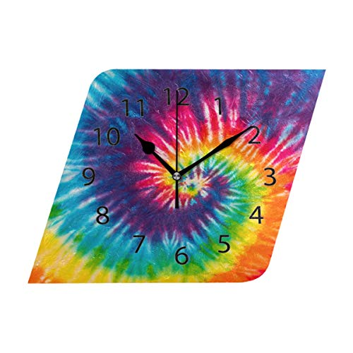 Swirl Design Diamond Gold - LONK Wall Clock,Diamond 10 Inch Silent Abstract Swirl Design Tie Dye Decorative for Home Office Kitchen Bedroom