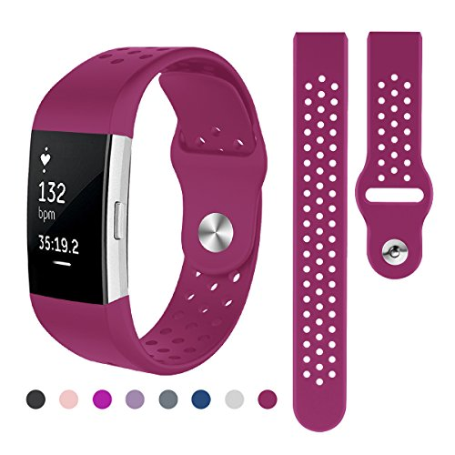 Kutop Band Compatible Fitbit Charge 2, Soft Silicone Silica Gel Replacement Sports Fitness Wristband Bands Compatible Fitbit Charge 2 Watchband (Purple Red, Small(5.1-6.9 in)) ()