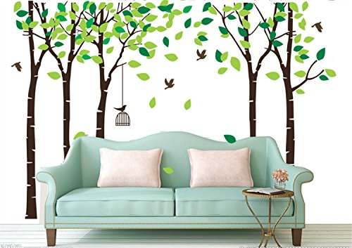 Yanqiao Big Forest Trees Wall Decal with Flying Birds Tree Background Stickers Nursery Removable PVC Wall Murals (Outside Decorating Ideas)