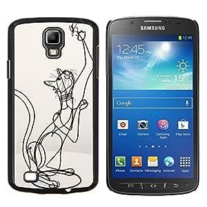 Planetar® ( Estructura del arte del gato Bosquejo Estatua de la mariposa ) Samsung Galaxy S4 Active i9295 Fundas Cover Cubre Hard Case Cover