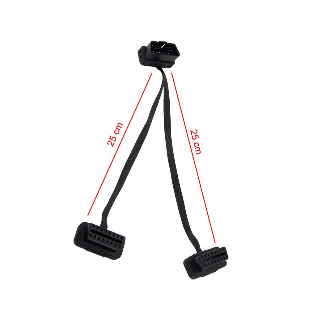0,6 Metri OBD-II OBD2 Cavo di prolunga Profilo Ultra Basso Cavo Piatto a Nastro Passante  per Lettori USB Scanner di Codici OBDII