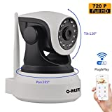 Wireless WiFi Security Camera System 1.0MP 720P HD Pan Tilt IP Network Surveillance Webcam,Day Night Vision,Baby Monitor,Two-Way Audio,Built-in Microphone Dog Cam,SD Card Slot(128GB),Motion Detection
