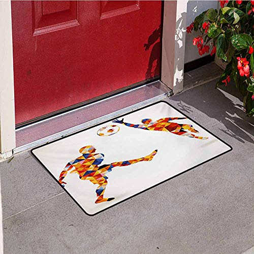 Jinguizi Sports Welcome Door mat Abstract Design with Football Soccer Players in Geometrical Colorful Shapes Print Door mat is odorless and Durable W35.4 x L47.2 Inch Multicolor (Best Player In Skyrim)