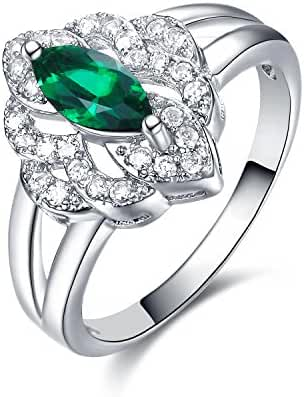 GTR4655 S925 Silver Simulated Emerald Stone 0.8 Carats Marquise Ring Rhodium Plated