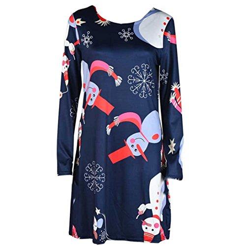 Damen Weihnachten kleid SHOBDW Frauen Weihnachten Drucken Swing ...