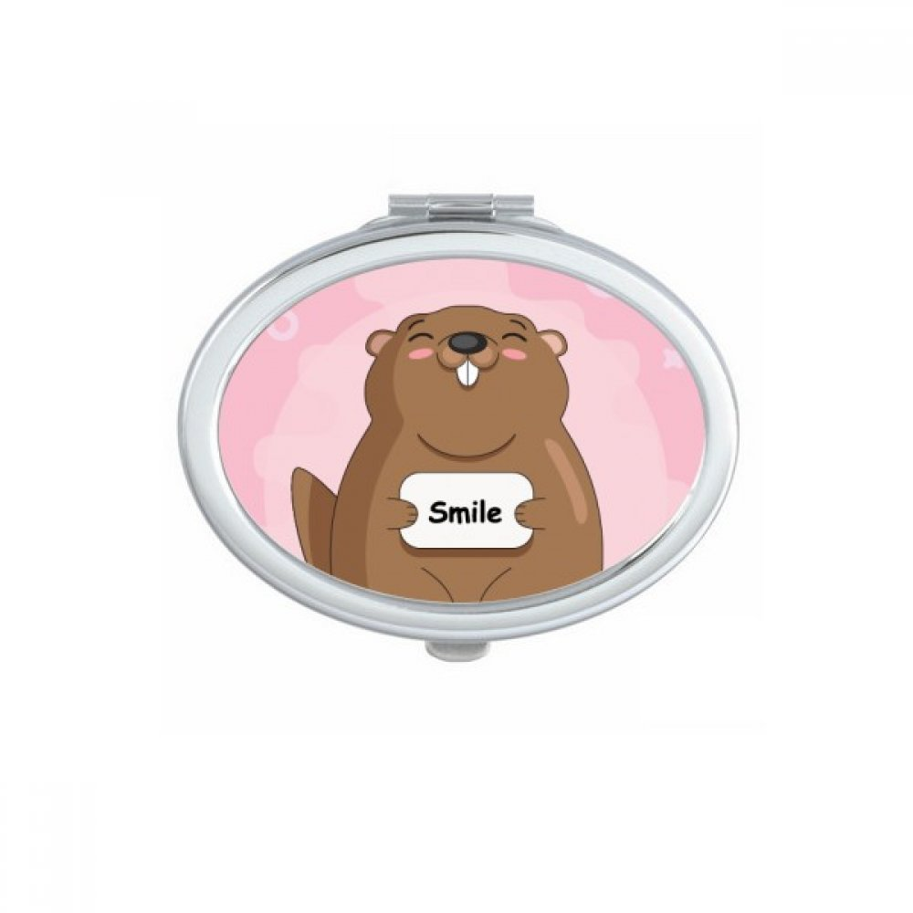 Happy Groundhog Day USA America Canada Festival Oval Compact Makeup Pocket Mirror Portable Cute Small Hand Mirrors Gift