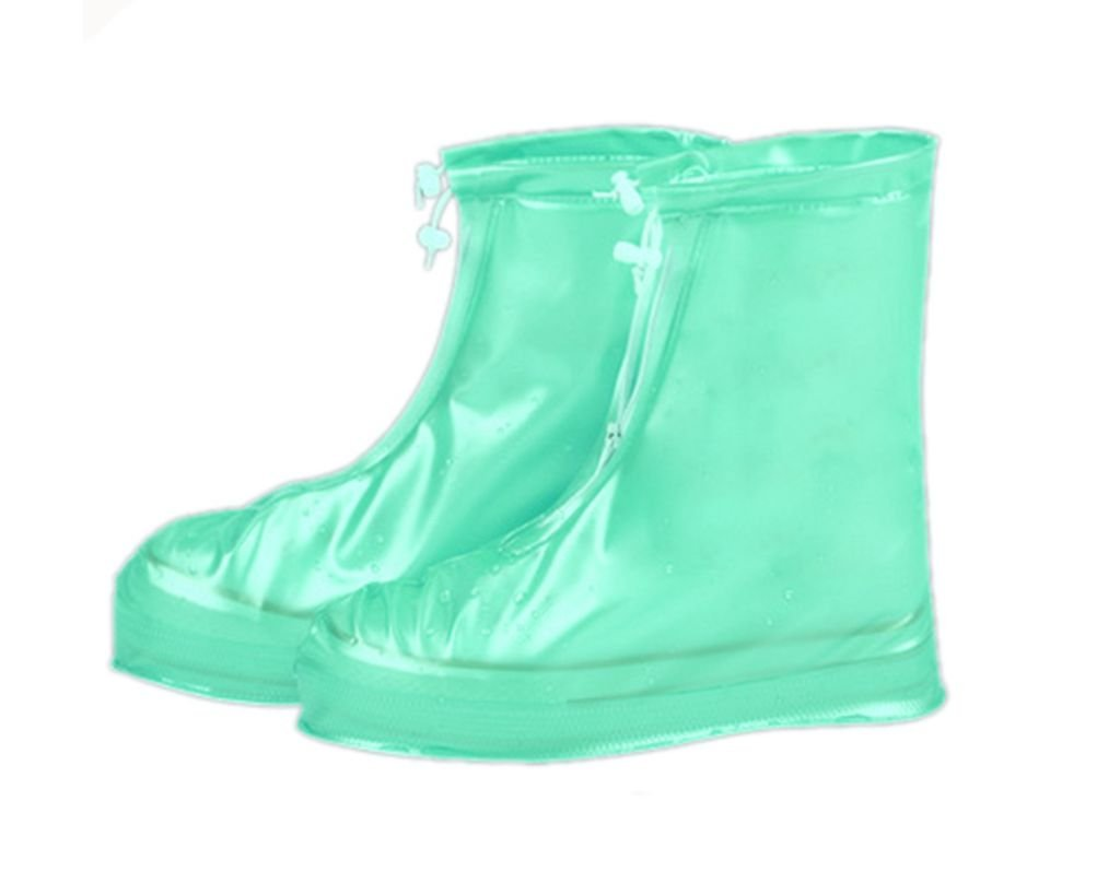 ATPWONZ Shoes Cover Reusable Waterproof Soft Rain Shoes Transparent White Slip-resistant Zippered Overshoes Rainy Boots Protective Gear for Women Mens Boys Girls