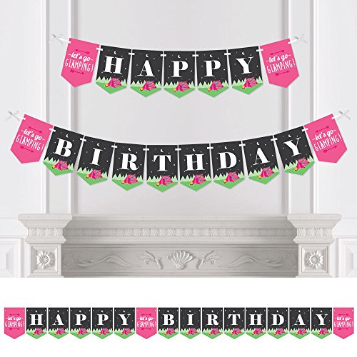 Lets Go Glamping - Camp Glamp Birthday Party Bunting Banner - Birthday Party Decorations - Happy Birthday