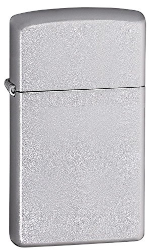 Slim Size Zippo Outdoor Indoor Windproof Lighter Free Custom Personalized Engraved Message Permanent Lifetime Engraving on Backside (Satin Chrome) (Gifts Forwomen)
