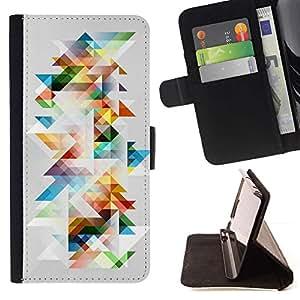 Momo Phone Case / Flip Funda de Cuero Case Cover - Minimalista Patrón colorido Polígono - Motorola Moto E ( 2nd Generation )
