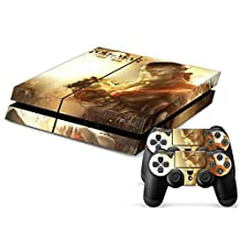 Survival, Action, and Adventure Games Designer Vinyl Skin for Gaming Console and Free Controller Sticker Decal for PS4 (Red War God Ascension)