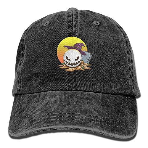 Arsmt Halloween Golf Sunset Denim Hat Adjustable Unisex Classic Baseball Hat -