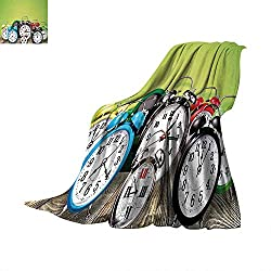 Clock Weave Pattern Extra Long Blanket A Group of Alarm Clocks on The Wooden Ground Digital Print Nostalgic Design Print Custom Design Cozy Flannel Blanket 90x 70Lime Green