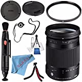Sigma 18-300mm f/3.5-6.3 DC MACRO OS HSM Contemporary Lens for Canon EF #886101 + 72mm UV Filter + Lens Pen Cleaner + Fibercloth + Lens Capkeeper + Deluxe Cleaning Kit + Flexible Tripod Bundle