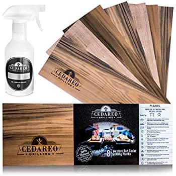 CEDAREO Grilling Planks - 8 Natural Wooden Boards for Cooking Meat, Salmon, Steaks, Shrimp, Vegetables - Fish and Barbecue Wood Smoking Blocks with Non-BPA Spray Bottle - 15 x 5 1/2 x 3/8 Inch
