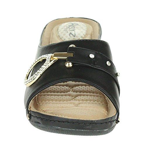 Mujer Señoras Amortiguado Comfort Respirable Revestimiento Suave Flexible Casual Ponerse Tacón de cuña Sandalias Zapatos Talla Negro