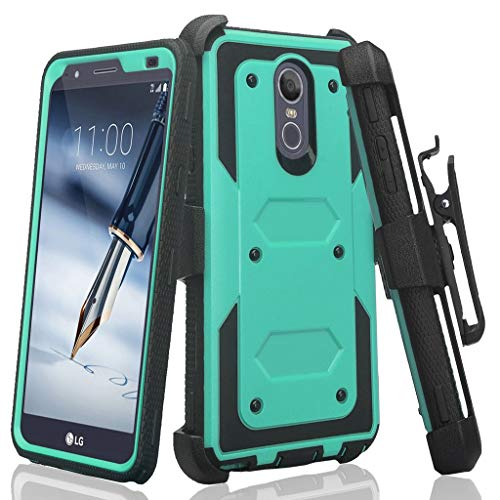Compatible for LG Stylo 4 Case, LG Stylus 4 Case, LG Q Stylus Case, Air Cushion Corners Shockproof Case with Belt Clip Holster & Built-in Screen Protector Full Covered Phone Cover - Green