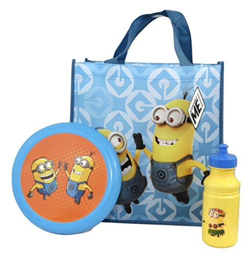 Despicable Me Minions Flying Disc, Pull-top Bottle and Reusable Tote Bundle Su-20 (Bob and Kevin (Minions Movie: Minion Kevin Adult Costume)