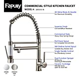 Fapully Contemporary Spring Design Single Handle kitchen faucet copper with Pull Down &Out Sprayer In Brushed Nickel