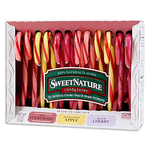 All Natural Candy Canes - No Artificial Colors - Strawberry, Apple and Black Cherry - Kosher Certification