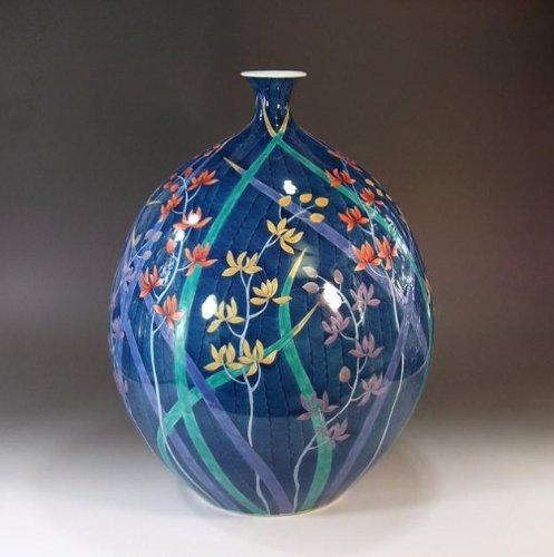 有田焼伊万里焼|花瓶陶器花器壺|贈答品|高級ギフト|記念品|贈り物|染錦蘭絵藤井錦彩 B00HRMQMR4