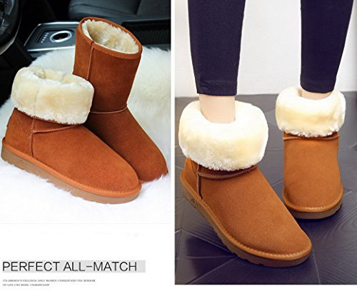 Evedaily Women and Men Snow Boots Fully Fur Lined Classic Tall Winter Snow Boots Maroon tV1uYf