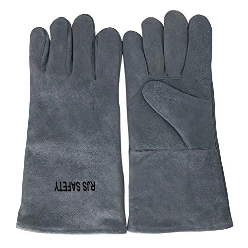 AINIYF (13.8x6.7Inches) Forge Welding & BBQ Leather Gloves, Extreme Heat/Fire Resistant With Long Sleeve For Grill/Forge/Fireplace/Tig Welder/Mig Welding/Gardening Gloves(Grey) by AINIYF (Image #6)