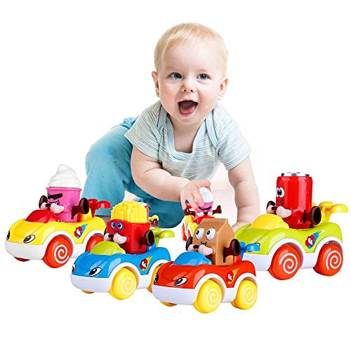 (LUKAT Infants Car Toys for 1-2 Year Old Baby Boys and Girls, Friction Powered Push and Go Cartoon Toys Cars 4 Sets for Toddlers)