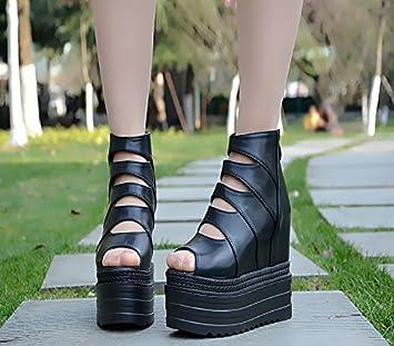XiaoGao 13 centimètres de mesdames « sandales à talons bas et épais de super,white