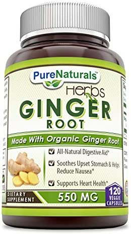Pure Naturals Ginger Root Supplement – 550mg Capsules – Easy to Swallow Capsule – Commonly Used Natural Remedy for Nausea Due to Pregnancy Other Conditions – 120 Pills Per Bottle