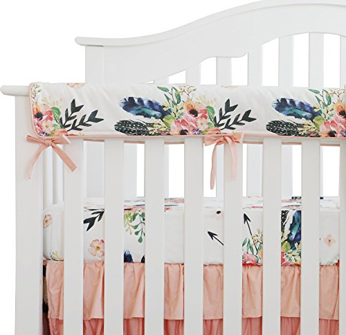 Sahaler Baby Crib Rail Cover Long Crib Rail Guard Baby Teething Cover Protector Wrap Nursery Bed Rails Cover (Feather Floral) ()