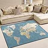 Naanle Education Area Rug 5'x7', World Map Polyester Area Rug Mat for Living Dining Dorm Room Bedroom Home Decorative