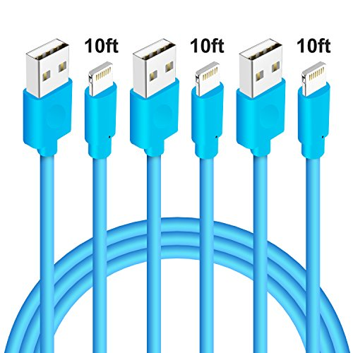iPhone Charging Cord, M-Better 3Pcs 10ft Lightning to USB Cable, Syncing and Charging Cable for iPhone 6S Plus 6 5S 5C 5 iPhone SE iPhone 7 7 Plus iPad Air (Sea Sync Cord)