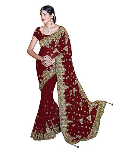 Mirchi Fashion Women's Faux Georgette Bridal Wedding Saree (4084_Maroon)