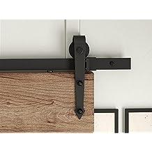 DIYHD 6ft Arrow wheel single sliding barn wood door close door track kit hardware
