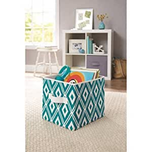 Better Homes And Gardens Collapsible Fabric Storage Cube Teal Diamonds Baby
