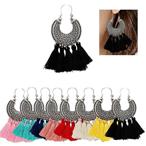 AMCHIC Fan Shape Bohemian Statement Silky Tassel Fashion Earrings for Women Dangling,Thread Fringe with Vintage Ethnic Pattern Metal Drop Pendant Earrings,Ladies