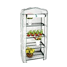 "GreenWise ® 4 Tier Portable Mini Warm Greenhouse Winter Gardening House Plants with Growing Rack / Shelf / Shelves & Cover (27"" L x 19"" W x 62.9"" H)"