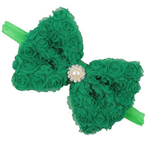 DZT1968(TM)Baby Girl Narrow Turban Headband Head Wrap Hair Band With Pearl Lace Bow (Green) - Narrow Green Band