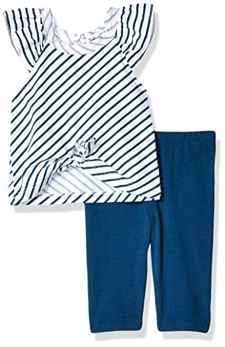(Splendid Baby Girls Diagonal Stripe tie Front top Set, Optic White, 18/24 mo )