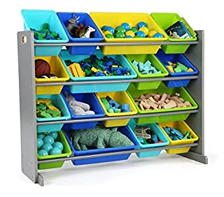 Tot Tutors WO498 Elements Collection Wood Toy Storage Organizer, X-Large, Grey/Blue/Green/Yellow (B07638ZJQY) | Amazon Products