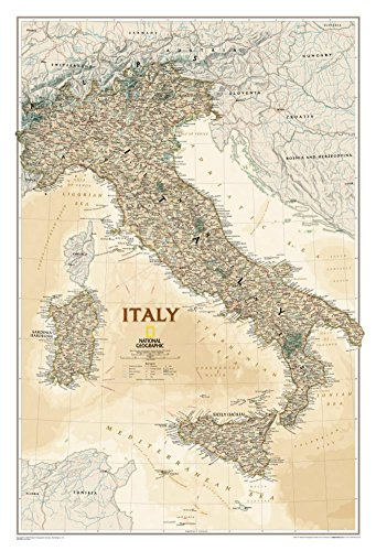 Laminated National Geographic Italy Map, Executive Style Poster 23 x 34in (Map Italy Poster)