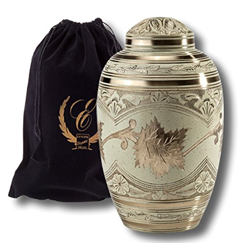 - Elegante Beautifully Crafted Solid Brass Adult Urn with Cream Wash Finish and Elegant Black Pouch