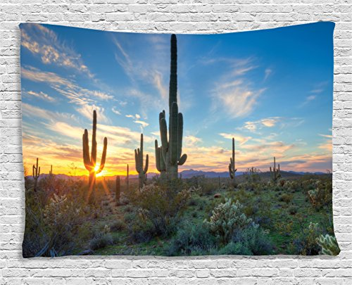 Wild West Theme Ideas (Sunset Tapestry Landscape Saguaro Cactus Decor by Ambesonne, Sunshine Setting Between Cactus Spines Magical Noon Wild West Design, Bedroom Living Room Dorm Art Wall Hanging, 80 X 60 Inches, Green Blue)