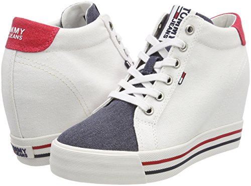 rwb top Wedge 020 Jeans Low Tommy Women''s Sneaker White fcZ1c4qn